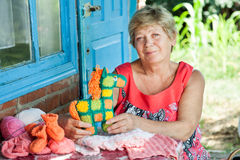 Grandmother knits Royalty Free Stock Image