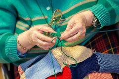 Grandmother knits up Royalty Free Stock Photo