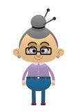 Grandmother knits. Vector flat cartoon illustration Stock Photos