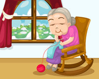 Grandmother knitting vector Royalty Free Stock Photos