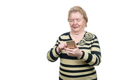 Grandmother learn to use mobile phone Stock Photos