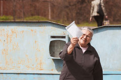 Grandmother with letter Stock Photos