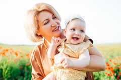 Grandmother with a little granddaughter playing in a poppy field. stock images
