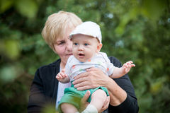 Grandmother and little grandson Royalty Free Stock Images