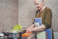 Grandmother making salad. In her kitchen Royalty Free Stock Photos