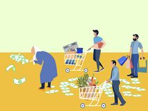 Grandmother Millionaire scatters money. Assistants driven purchases pensioner, electrical, clothing and food. In. Grandmother Millionaire scatters money royalty free illustration