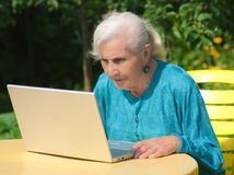 The grandmother with notebook Royalty Free Stock Images
