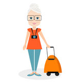 Grandmother with a packsack travel. Travelling with the knapsack. Vector illustration eps 10 isolated on white Royalty Free Stock Images
