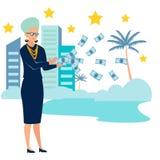 Grandmother is a pensioner, throws money. Old age millionaire. In minimalist style Cartoon flat Vector. Illustration stock illustration