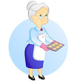 Grandmother with pies. Grandmother holding a tray with freshly baked pies stock illustration
