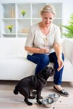 Grandmother with a dog Royalty Free Stock Images