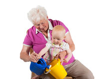 Grandmother playing with her grandchild Royalty Free Stock Photo