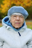 Grandmother portrait. In garden, autumn Royalty Free Stock Photography