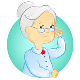 Grandmother. Portrait of a cute grandmother with glasses stock illustration