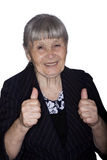 Grandmother. Portrait of the grandmother hand showing gesture isolated on a white background Royalty Free Stock Photos
