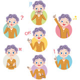 Grandmother pose expression. The expression of the face of grandmother and various poses Royalty Free Stock Image