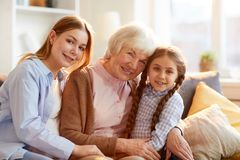 Grandmother Posing with Family royalty free stock photography
