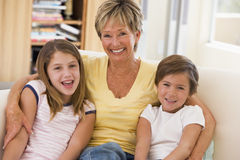Grandmother posing with grandchildren Royalty Free Stock Photography