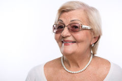 Grandmother posing in sunglasses Stock Photo