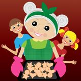 Grandmother prepares a delicious dessert for grandchildren Royalty Free Stock Images