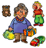 Grandmother with presents and naughty grandson. Grandmother came to her grandson with presents: car and teddy bear. Boy is crying Stock Image