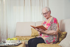 Grandmother reading alone Stock Photography