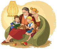 Grandmother reading a book fairy tales for your grandchildren stock illustration