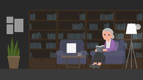 Grandmother is reading a book in study room. Senior woman sits on a couch in study room. Vector illustration Stock Photos