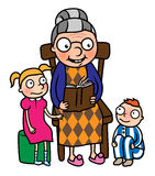 Grandmother reading book to gradchildren. Cartoon vector illustration of grandmother reading book to her grandchildren or nanny reading book to young boy and Stock Images