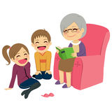 Grandmother Reading Story. Illustration of kids listening their grandmother reading a story Stock Images