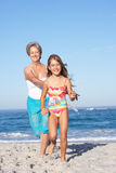 Grandmother Running With Granddaughter Stock Images