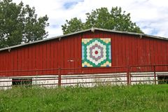 Grandmother's Flower Garden Quilt Barn Royalty Free Stock Photo