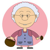The grandmother's illustration with a basket and mushrooms Royalty Free Stock Photography
