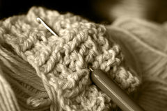 Grandmother's knitting. Knitting work in progress stock photo