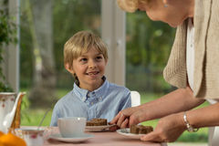 Grandmother serving homemade cake Royalty Free Stock Photo