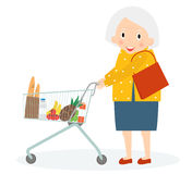Grandmother is Shopping. Old woman leisure time.. Grandma in supermarket with trolley. Cute senior woman on shopping. Vector illustration Stock Photo