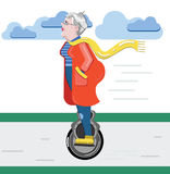 Grandmother silhouette. Old woman on the scooter. Old progressive woman use modern technology monowheel. Flat style modern vector. Old woman on the mono wheel Stock Illustration
