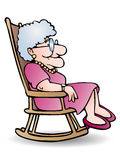 Grandmother sit on shaky chair Stock Image