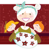 Grandmother with sweet cookies vector illustration