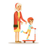 Grandmother Teaching Boy To Ride Scooter, Part Of Grandparents Having Fun With Grandchildren Series. Different Generations Of Family Enjoying Time Together Stock Photography