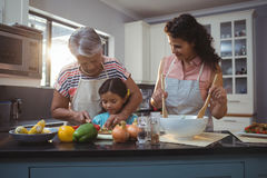 Grandmother teaching granddaughter to chop vegetables in kitchen Royalty Free Stock Image