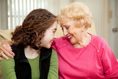 Grandmother and Teen Love stock photo