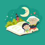 Grandmother tells a fairytales to her granddaughter. Vector illustration Royalty Free Stock Photo