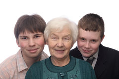 Grandmother with two grandsons. Isolated on white background Royalty Free Stock Image