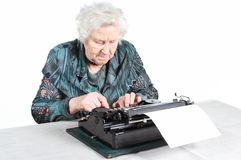 Grandmother typewriter Royalty Free Stock Images