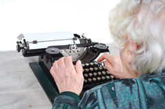 Grandmother typewriter Royalty Free Stock Photography