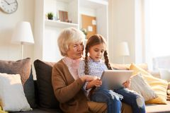 Grandmother Using Digital Tablet royalty free stock photo