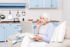 Grandmother using laptop computer Stock Photos