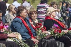 Grandmother veterans of World War II. Three Soviet grandmother veteran on Victory Day celebration Royalty Free Stock Images