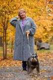 Grandmother walks with a dog in an autumn park straightens her hair. Grandmother in a gray coat to walk with a dog on a leash in an autumn park, adjusts her hair Stock Photos